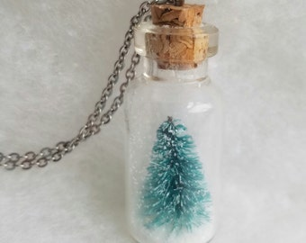 Snow Globe Necklace, Christmas Tree Necklace, Christmas Necklace