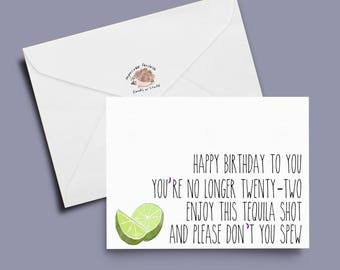funny birthday card, tequila card, shot card, lime card: smashed birthday bash