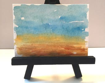 ACEO original watercolor desert landscape painting, ATC artist trading card, ACEO painting, mini painting, Desk art, blue and gold art