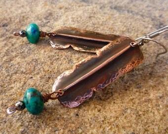 Native American earrings, Brazilian azurite earrings, Copper earrings, Hammered copper, Long earrings, Artisan jewelry, Fold-formed copper