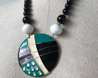 Rad 1980s Enamel Art Statement Necklace