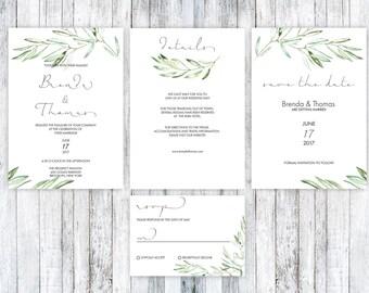 Rustic Wedding Invitation, Rustic Wedding Invitation Template, Wedding Invitation Templates, Wedding Cards, Olive wedding invitation, PDF