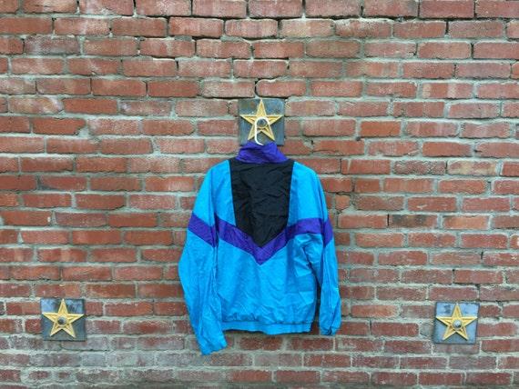 T Time Jacket / 80s 90s Colorblock Arrow Windbreaker Jacket Teal Purple Black Medium Large XL
