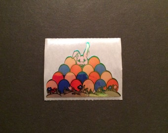 Sandylion vintage rare 1990 shiny rabbit behind eggs sticker