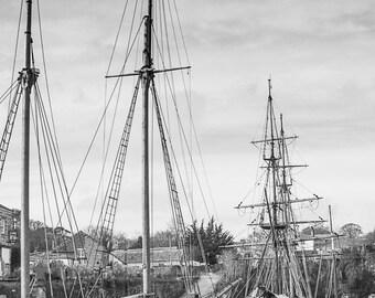 Black and white print, Nautical photo, Tall ship print, Wall art, Coastal decor, Harbour, Historical, 'Tall ships of Charlestown' Cornwall