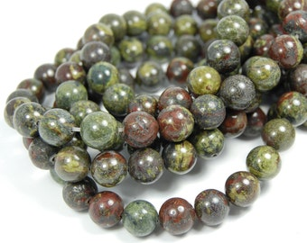"Dragons Blood Jasper Beads 10mm, Two 15.5"" strands"