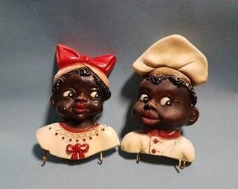 Black Americana Pair of Chalkware Chef and Housekeeper Wall Hooks