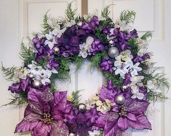 Purple and White, Purple Delicate Christmas Wreath, Holiday Wreath, All Occasions, Non Traditional, Whimsical, Garden
