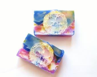Tropical soap, 5oz, loofah soap, pineapple soap, sweet soap, passion fruit soap, jasmine soap, orange soap, grapefruit soap, soap favor
