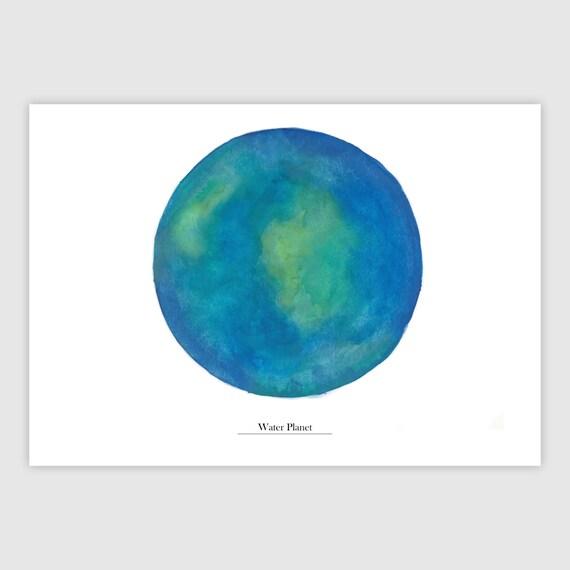 Hnliche artikel wie wasserplanet planeten geschenk for Dekoration universum