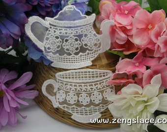 White lace applique/teapot and teacup appliques/Cotton Patch/3 inch patch/White Applique, priced for a set of two pieces, LA-10-x