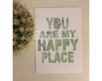 "Original wall art print, you are my happy place, 6 x 8"" (aprox), A5"