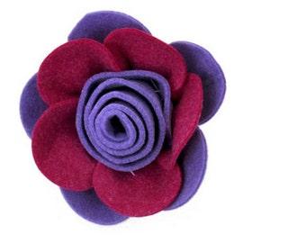 Classic felt rose Brooch - Purple - 1vintage  style felt brooch