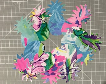 Set of 10 Lilly Pulitzer Pineapples die cut out punch for craft making, scrapbooking, & cards
