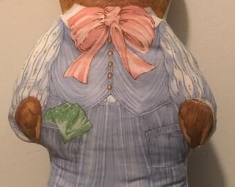Vintage Stuffed Bear in a Straw Hat