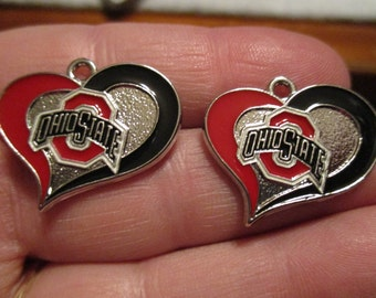 Set of 2 Ohio State Heart Charms