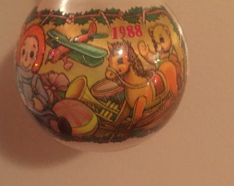 Vintage 1988 Raggedy Ann and Andy Satin Ball Ornament