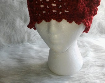 Red Lacey Crochet Hat With Flower