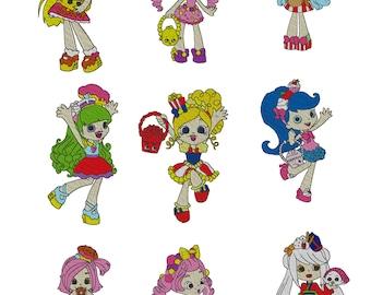 Set of nine Shopkins Shoppies Embroidery Design 4x4 hoop