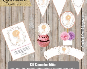 Kit printable first communion, girl, first communion invitation.