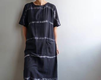 Sheer Cotton Gauze Shibori Dress-Black Shibori Dress-Cotton Gauze