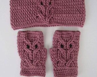 Crochet Owl Fingerless Gloves and Earwarmer Set