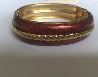 Vintage Clamper Cuff Bangle  Bracelet,Wine,Brown and Gold