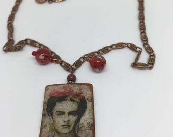 Celebrate Frida Kahlo Copper Necklace with Vintage Beads.