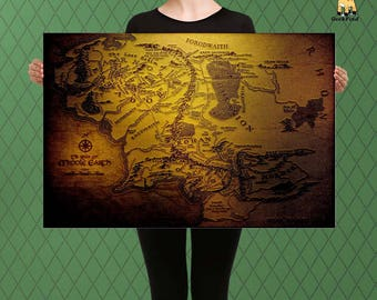 Lord of the Rings, Middle Earth World Map, Vintage Fabric Style, Custom Raised Canvas Art Piece