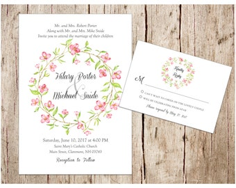 Cherry Blossom Spring Wedding Invitation & RSVP Card, DIY/Printable