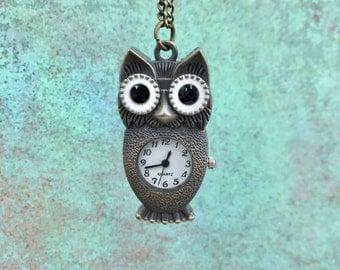 Owl Watch Necklace, Antique Bronze, Pocket Watch, Watch Pendant