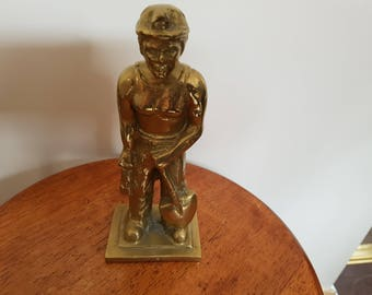 vintage solid heavy brass figure of a miner & shovel