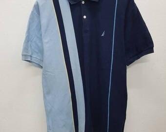 Vintage Nautica Button Down Polo Rugby Shirt Nice Design Medium Size