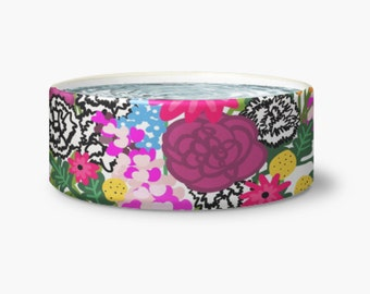 Frenchie Food Bowl - French Bulldog Food Bowl - Vibrant Pet Bowl - Pet Bowl - Colorful Floral Pet Bowl - Colorful Pet Accessories - Pets