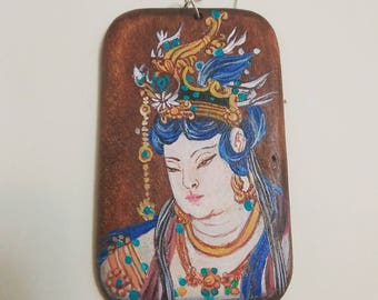 Dunhuang art painting wood long necklace