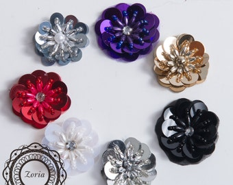 "1 1/4"" Sequin Flower Beading Applique 12 pieces 
