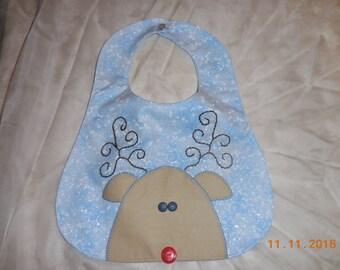 Baby bib, large baby bib, Christmas baby bib, reindeer bib