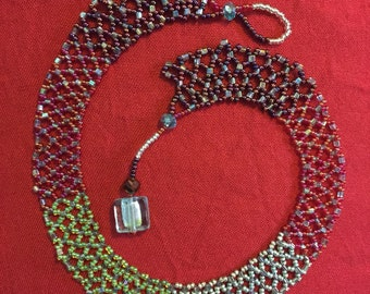 Beaded Netting collar necklace