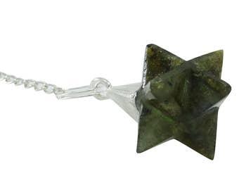 Labradorite Merkaba Pendulum, Meditation Balancing Reiki Healing Crystal Dowsing Energy Genrator, Natural Stone With Gift Pouch HCDR767A