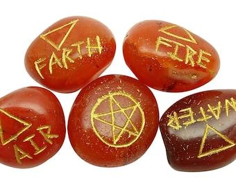 Carnelian Set Of 5 Elemental Quarter Stone, Spiritual Energy Generator Reiki Healing Natural Gemstones WIth Gift Pouch HCDR467H