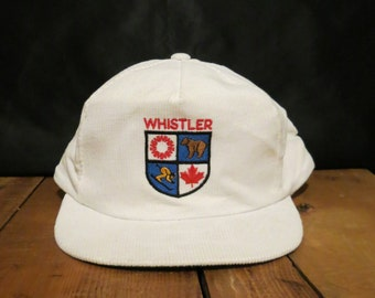 WHISTLER Authentic Vintage Cap Hat Off White Corduroy Lightly Distressed