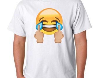 Middle finger lmao emoji t-shirt. Free shipping!!!!
