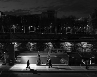 Art - Banks of the Seine by night
