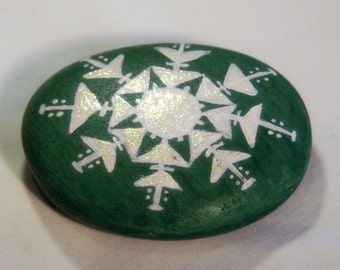 Hand Painted Snowflake Pebble in Green and Sparkle White