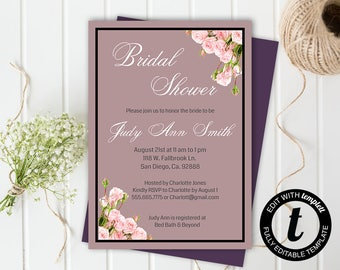 floral bridal shower invitation,bridal shower invitation template,wedding template,bridal shower,editable, mauve ,5x7 template, roses