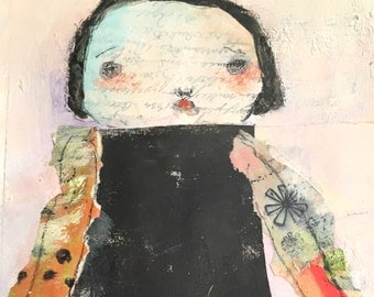 Mixed Media Collage - Outsider Art - Mixed Media Woman - Home Decor Art - Outsider Portrait - Whimsy Painting