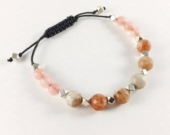 Bracelet ajustable avec billes en pierre de Jade et Moonstone