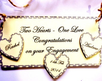 PERSONALISED Engagment Gift -Two Hearts One Love Congratulations On Your Engagement