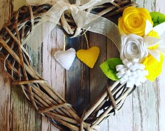 Wicker heart-floral wreath-wicker heart wreath/spring flowers