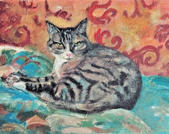 Still life with cat, Acrylic painting, Original artwork, Cat,Size: 45 x 30 cm